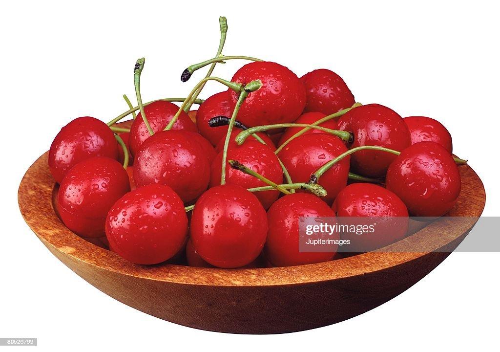 Bowl of cherries : Stock Photo