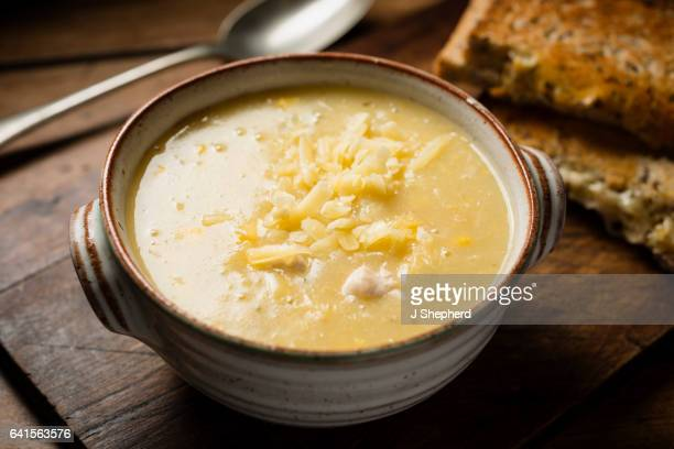 bowl of chicken and sweetcorn soup. - chicken soup stock photos and pictures