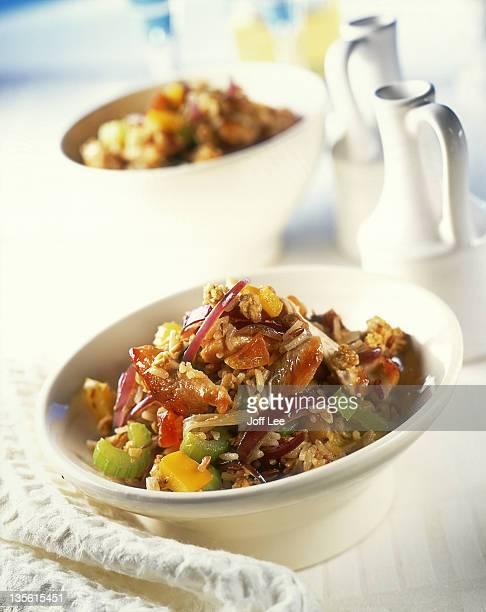 Bowl of chicken,rice & vegetable stir-fry