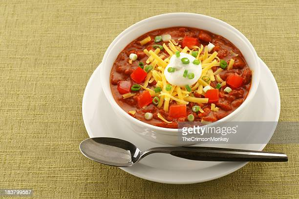 Bowl of Chili on Retro Green Tablecloth