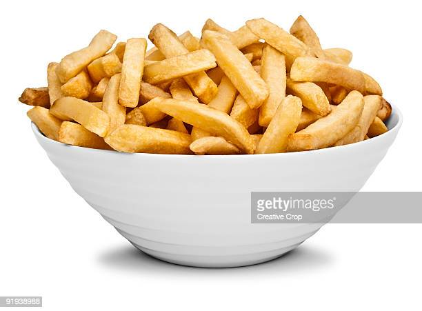 bowl of chips / french fries - fast food french fries stock pictures, royalty-free photos & images