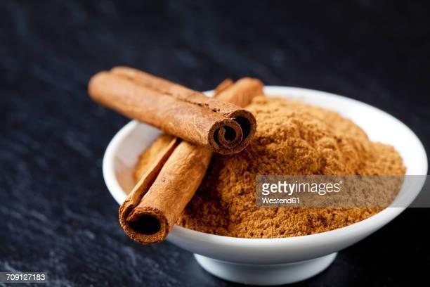 bowl of cinnamon powder and two cinnamon sticks - canelo fotografías e imágenes de stock