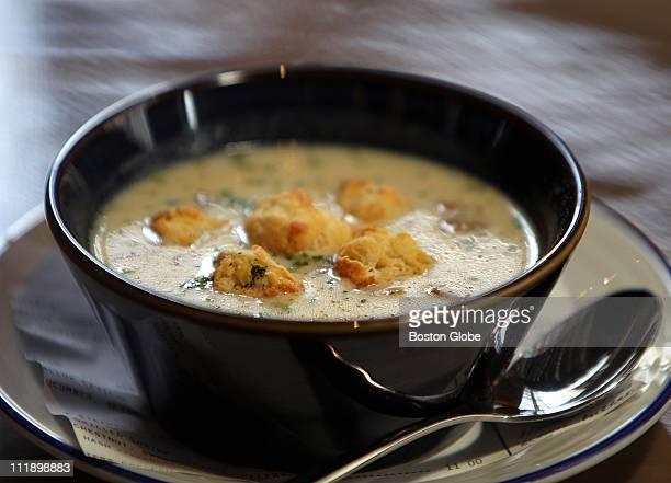 bowl of clam chowder at Island Creek Oyster Bar a bowl of clam chowder