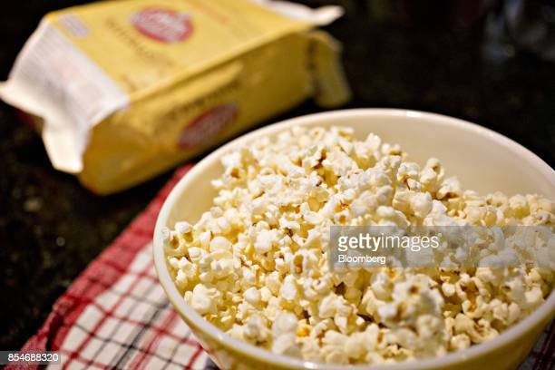 A bowl of ConAgra Brands Inc Orville Redenbacher's Naturals brand microwave popcorn is arranged for a photograph in Tiskilwa Illinois US on Sunday...
