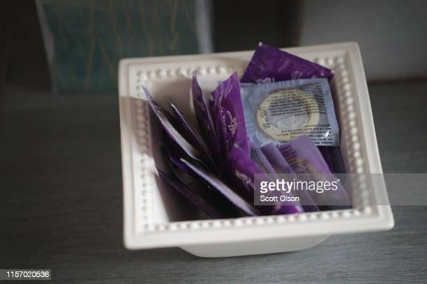 Bowl of condoms sit on a table in an examination room at Whole Woman's Health of South Bend on June 19, 2019 in South Bend, Indiana. The clinic,...