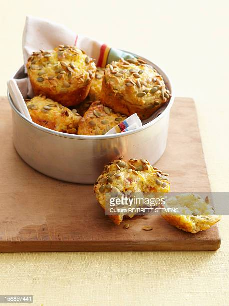 bowl of cornbread muffins - savoury food stock photos and pictures