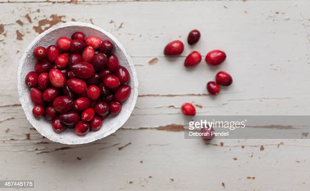 Bowl of cranberries on painted wooden background