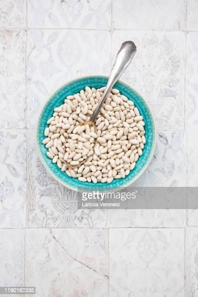 bowl of dried white kidney beans - larissa veronesi stock-fotos und bilder