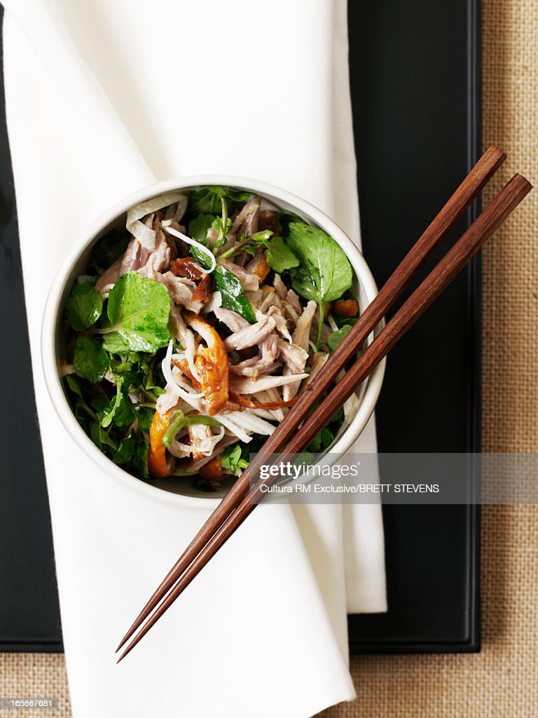 Bowl of duck and watercress salad : Stock Photo