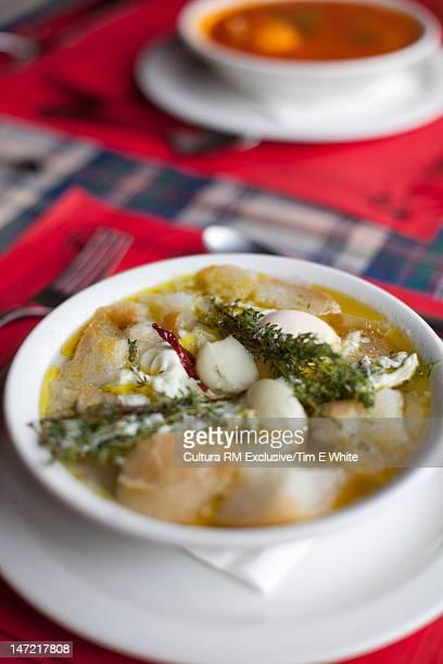 Bowl of dumpling soup