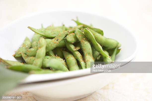 Bowl of edamame, elevated view (focus on edamame)
