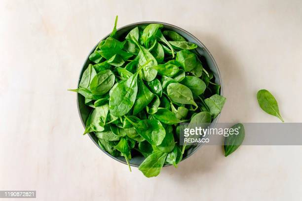 Bowl of fresh Baby spinach leaves over white marble background Flat lay copy space