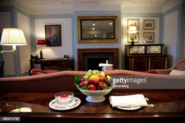 A bowl of fresh fruit sits in the lounge area of a guest suite inside the Lanesborough luxury 5star hotel operated by the Oetker Group in London UK...