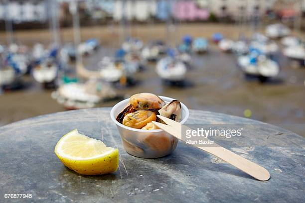 Bowl of Fresh mussels on Ilfracombe harbour