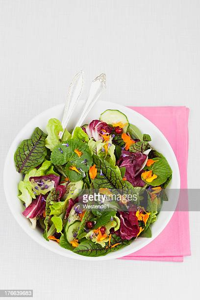 bowl of fresh salad on white background, close up - green salad stock pictures, royalty-free photos & images