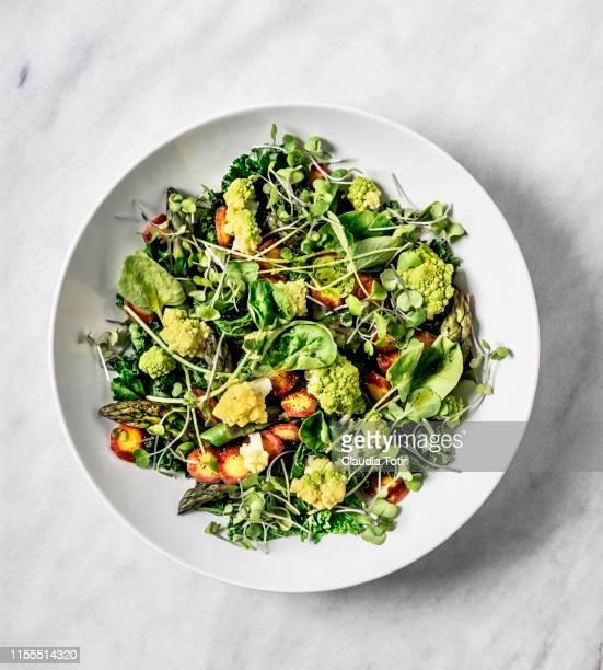 a bowl of fresh salad on white background - crucíferas - fotografias e filmes do acervo