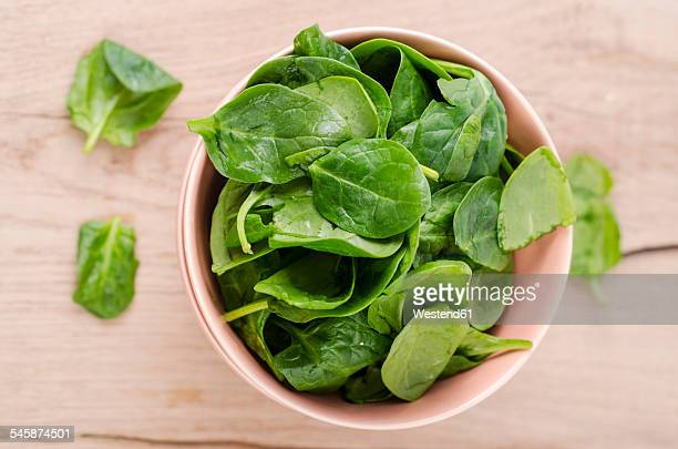 bowl of fresh spinach leaves on wood - spinach stock pictures, royalty-free photos & images