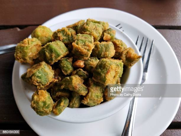 bowl of fried okra - fried stock pictures, royalty-free photos & images