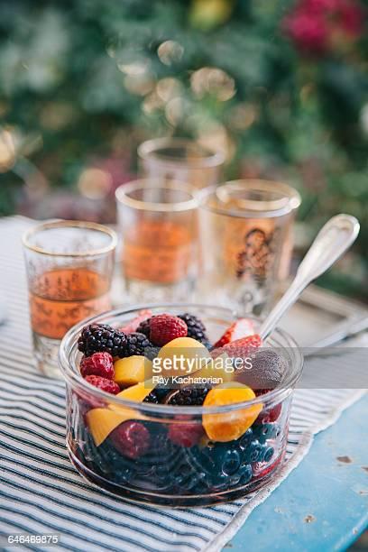 bowl of fruit - 果物の盛り合わせ ストックフォトと画像