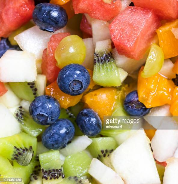 Bowl of fruit salad, close-up. Alkaline diet, food