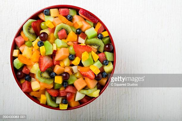 Bowl of fruit salad, overhead view