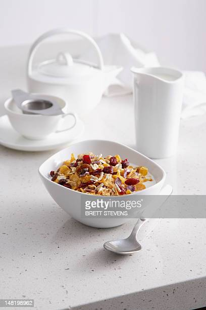 Bowl of granola on breakfast table