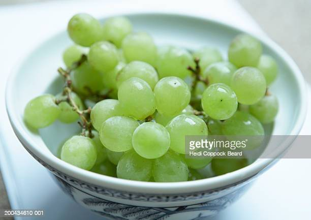 bowl of green grapes, close-up - heidi coppock beard photos et images de collection