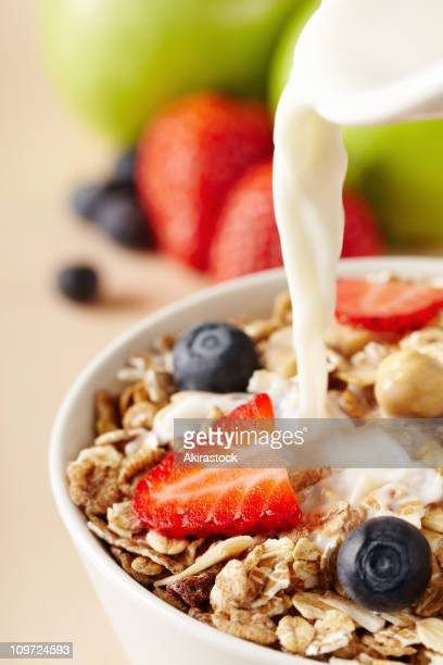 A bowl of healthy cereals for breakfast
