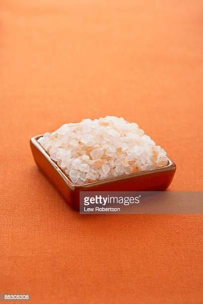 Bowl of Himalayan pink salt