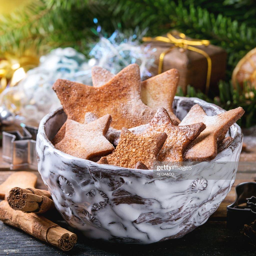 Bowl Of Homemade Christmas Shortbread Star Shape Sugar Cookies