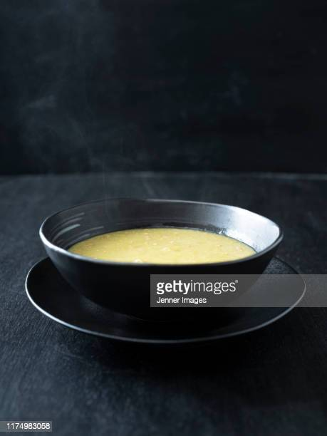 bowl of homemade pea and ham soup. - soup bowl stock pictures, royalty-free photos & images