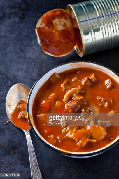 bowl of hungarian goulash soup - canned food stock pictures, royalty-free photos & images