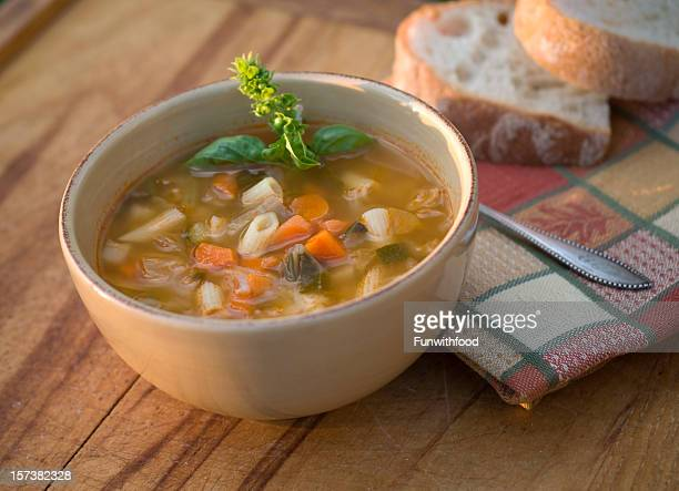 Bowl of Italian Minestrone & Pasta Soup, Vegetarian Vegetable Noodle Stew