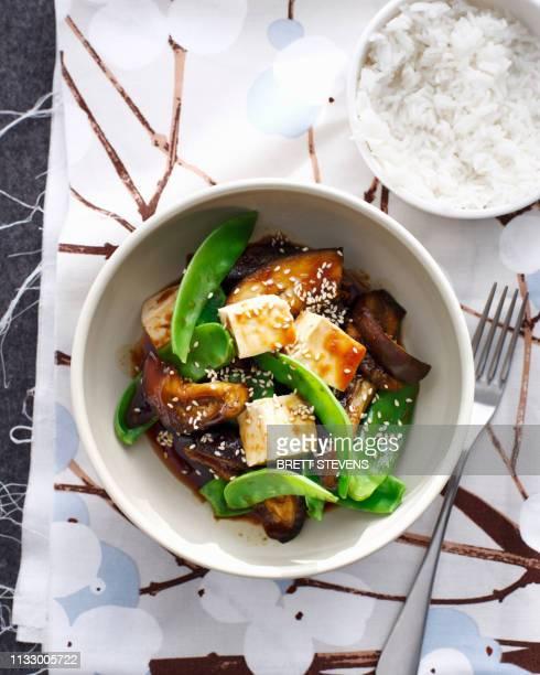 bowl of japanese eggplant with tofu - sostituto della carne foto e immagini stock