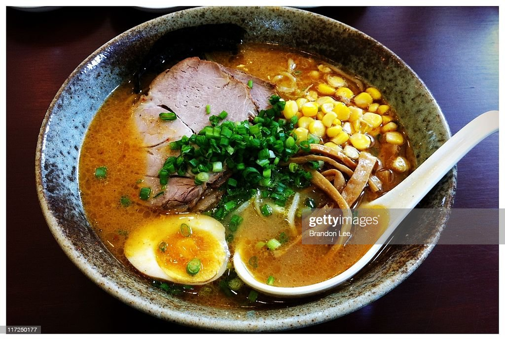 Bowl of Japanese sapporo ramen noodles : Stock Photo