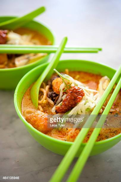 A bowl of laksa a spicy noodle soup from the Peranakan or Nyonya cuisine a fusion of Chinese and Malays cuisines in Malacca It's one of Malaysia'a...