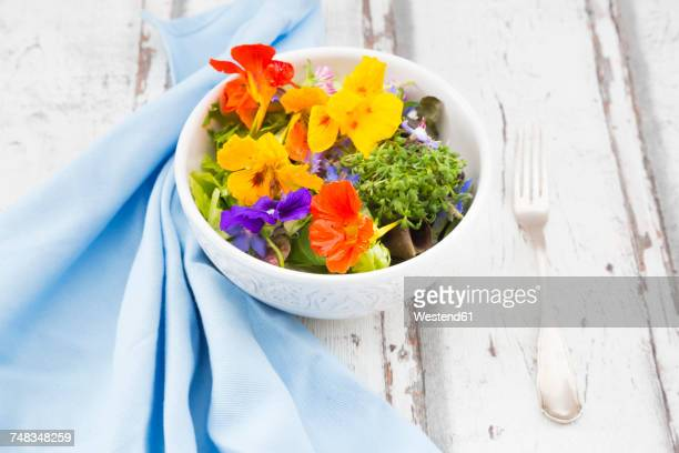 bowl of leaf salad with various edible flowers - nasturtium stock pictures, royalty-free photos & images