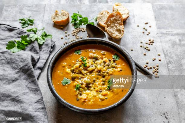 bowl of lentil soup - season stock pictures, royalty-free photos & images
