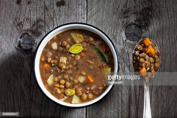 bowl of lentil soup - lentil stock pictures, royalty-free photos & images