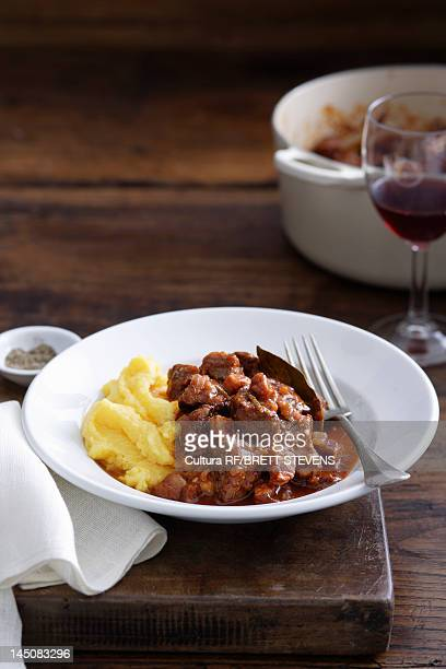 Bowl of meat and mashed potatoes