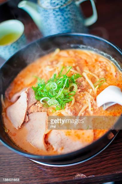 Bowl of miso ramen soup