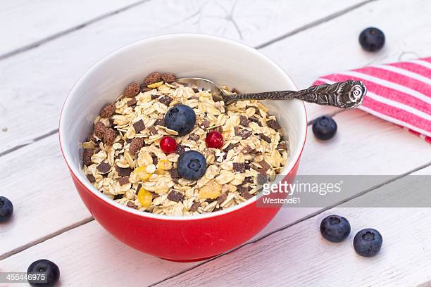 Bowl of muesli with fresh fruits on wooden table, close up