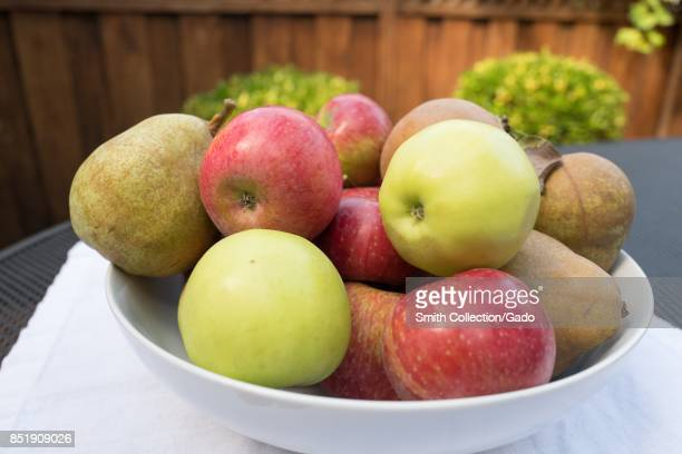 Bowl of multi colored apples on a table during the Jewish holiday of Rosh Hashanah September 21 2017 In the Jewish religion apples are eaten on Rosh...