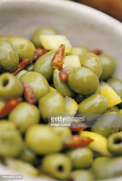 bowl of olives - greek food stock pictures, royalty-free photos & images