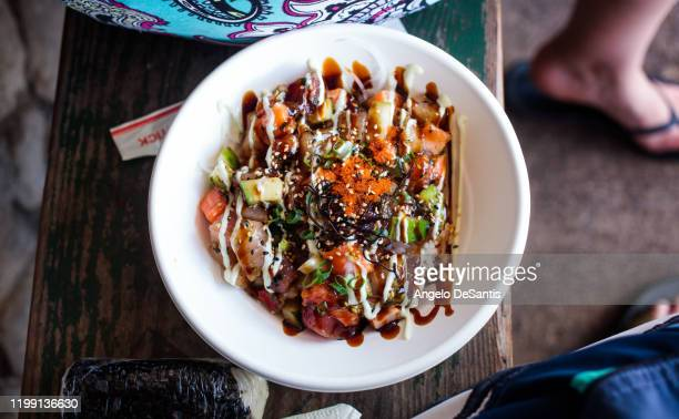 bowl of poke - pacific islands stock pictures, royalty-free photos & images