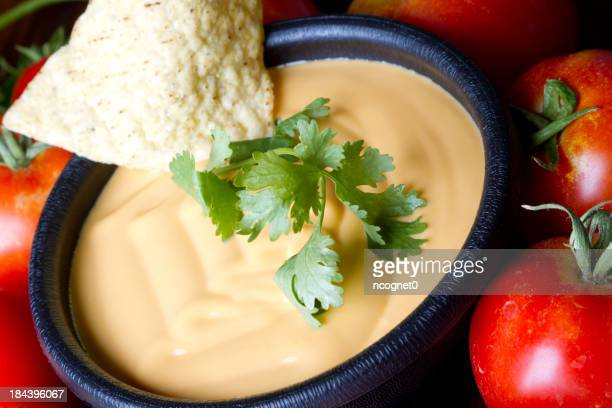 A bowl of queso dip surrounded by ripe tomatoes