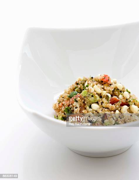 bowl of quinoa grain salad - tabbouleh stock pictures, royalty-free photos & images