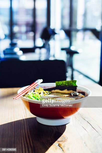 Bowl of ramen on restaurant table