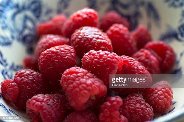 Bowl of raspberries.