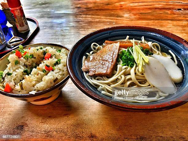 Bowl Of Rice And Noodles With Meat